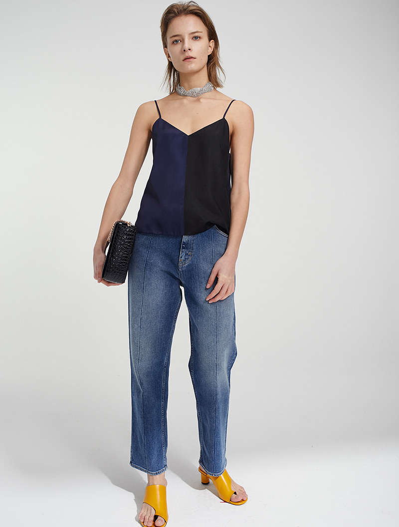 COLOR BLOCK SLIP TOP BLACK