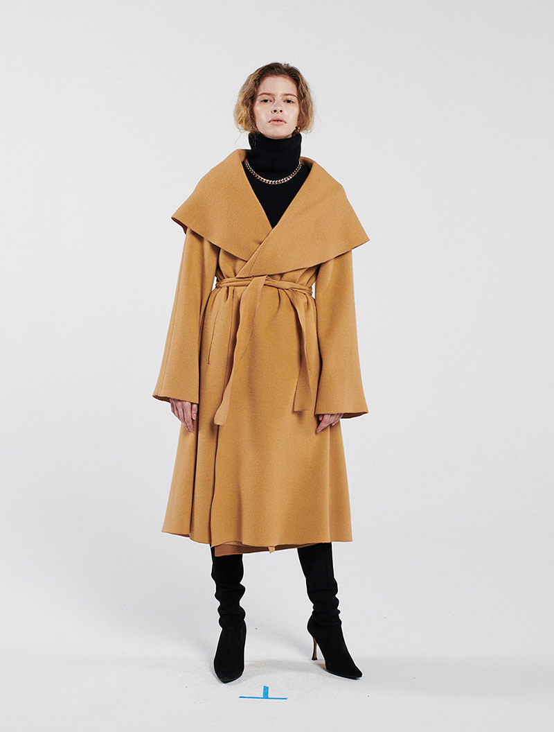 HOODED A-LINE COAT CAMEL