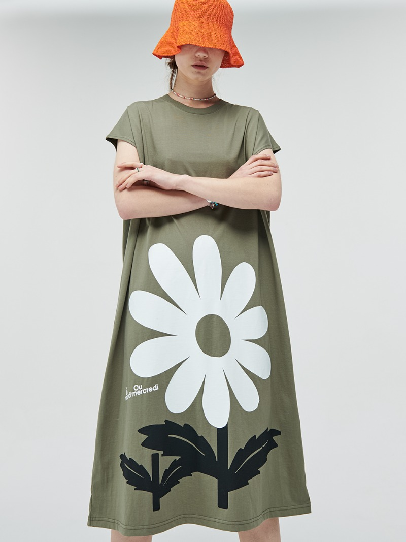 DRESS BIG FLOWER KHAKI