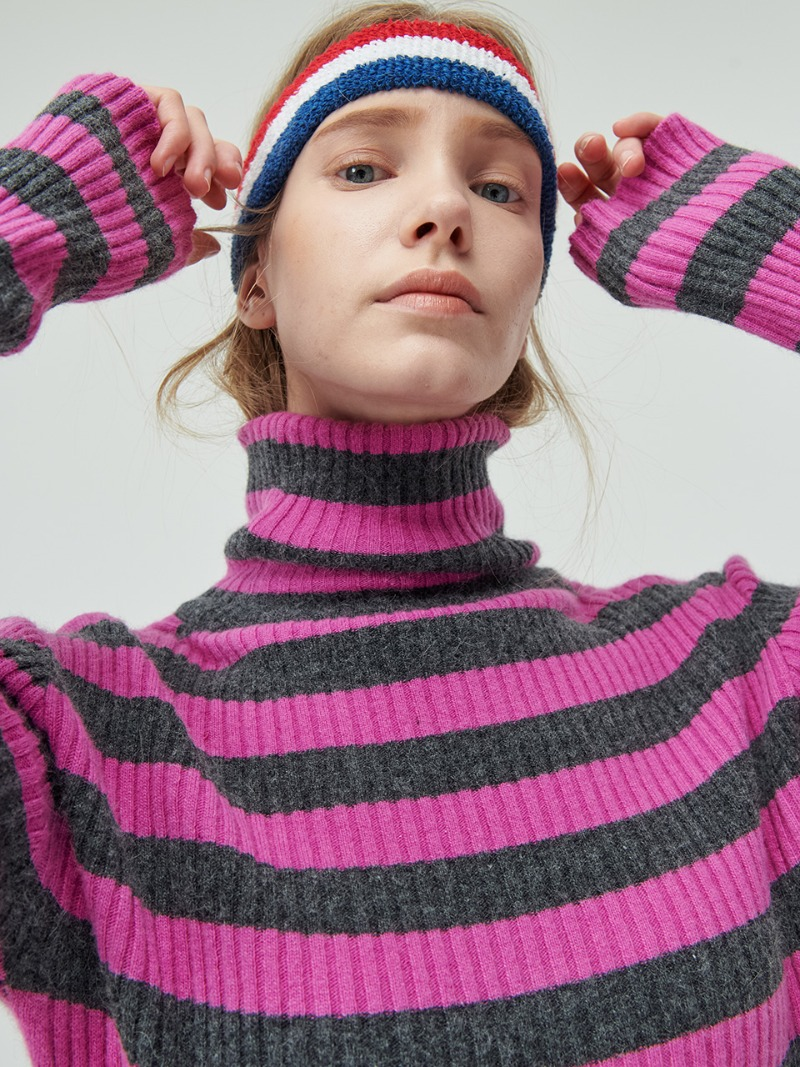 STRIPE KNIT - TURTLE - PINK