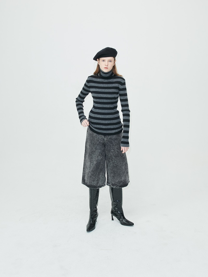 STRIPE KNIT - TURTLE - BLACK