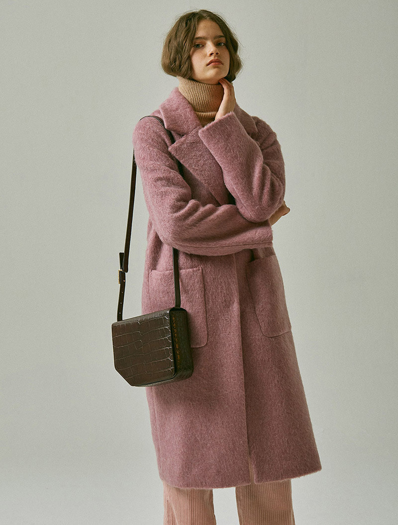 OVERSIZED MOHAIR COAT PINK
