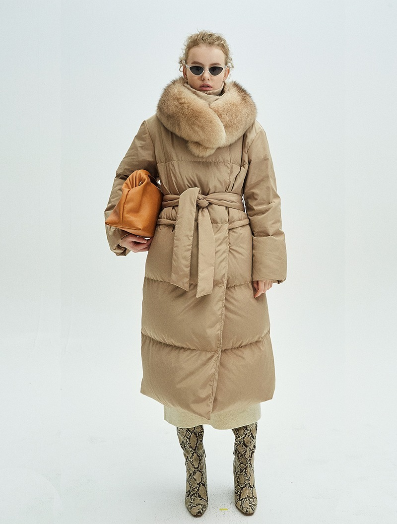 BELTED DOUBLE DOWN COAT BEIGE