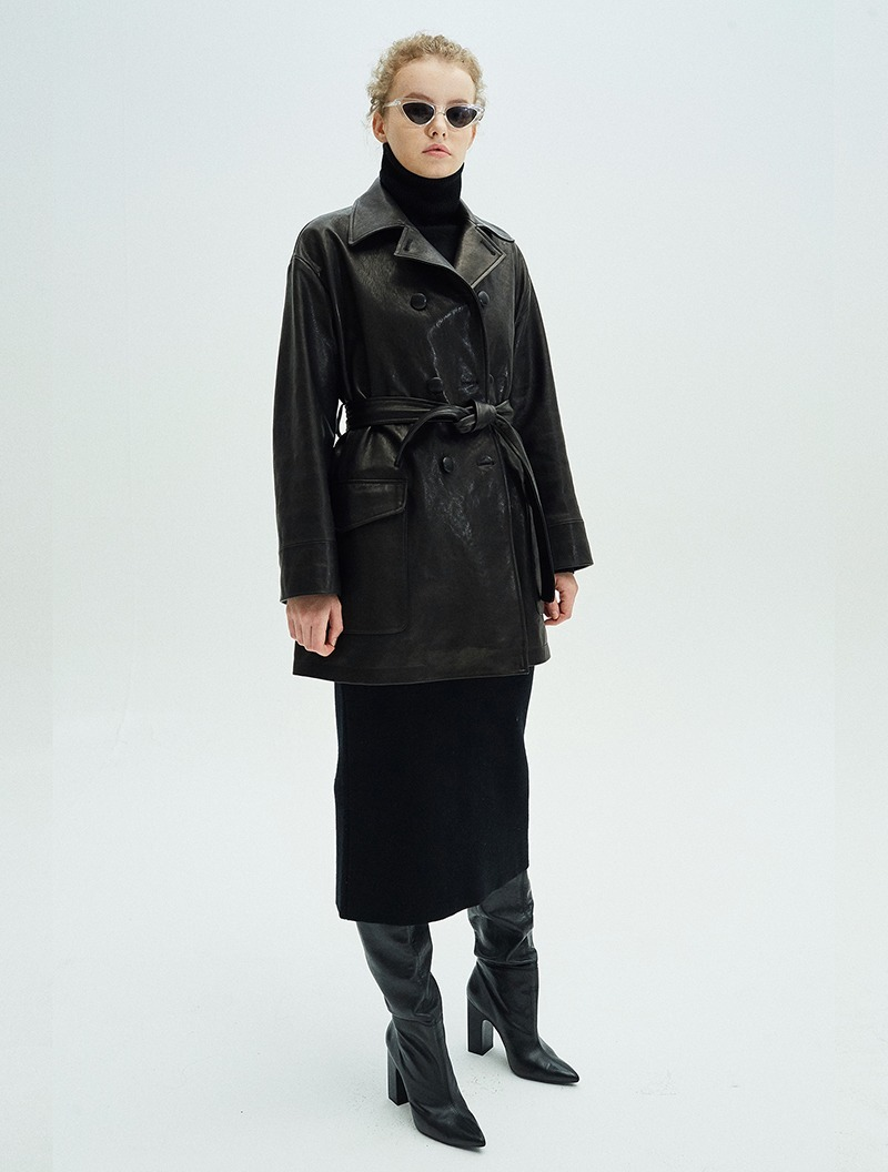 LAMBSKIN LEATHER COAT BLACK