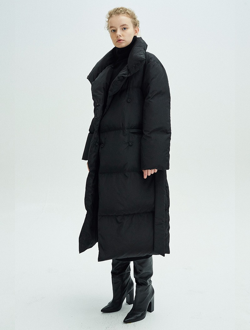BELTED DOUBLE DOWN COAT BLACK