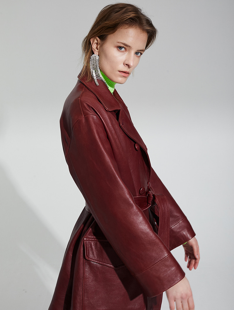 [주문제작] VEGETABLE LAMBSKIN LEATHER COAT WINE