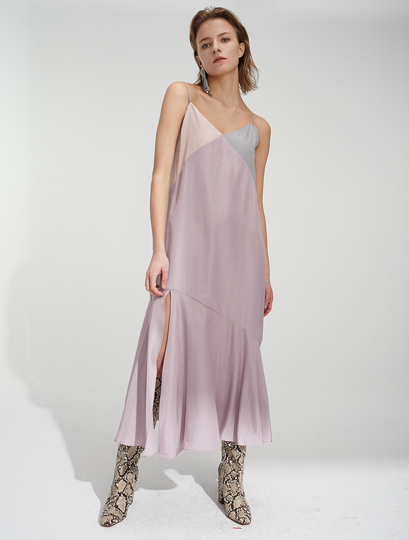 COLOR BLOCK SLIP DRESS LILAC
