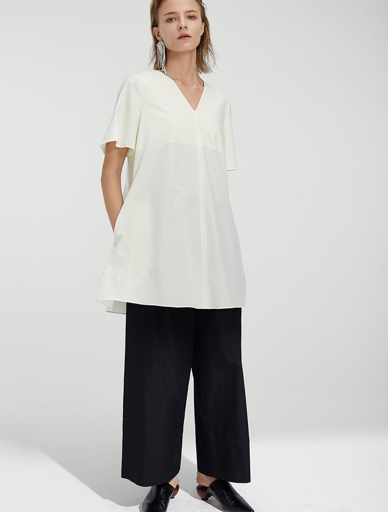 A-LINE HALF SLEEVE TOP OFF-WHITE