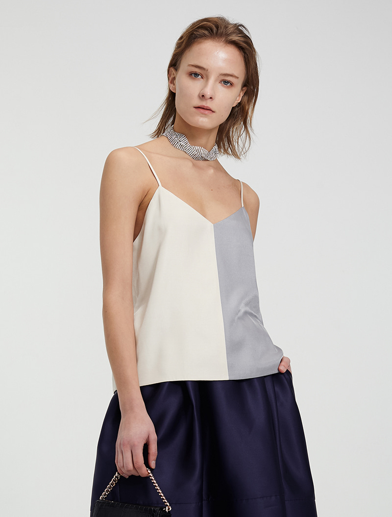 COLOR BLOCK SLIP TOP IVORY