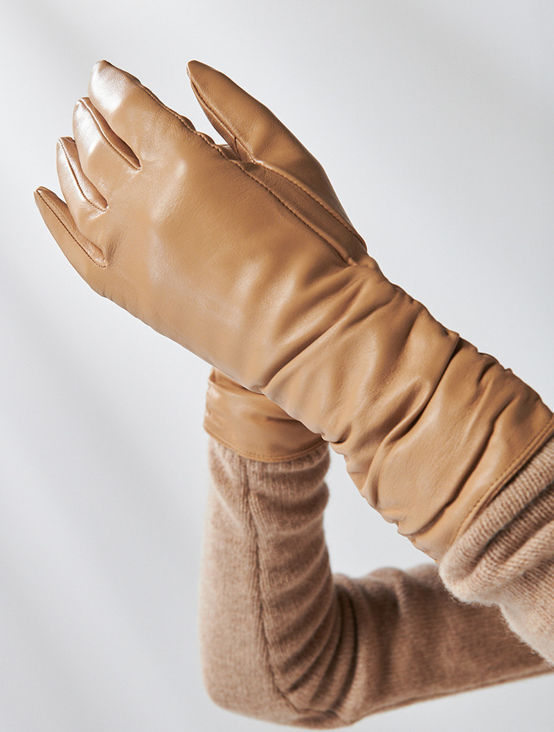 SHIRRING LAMBSKIN GLOVES