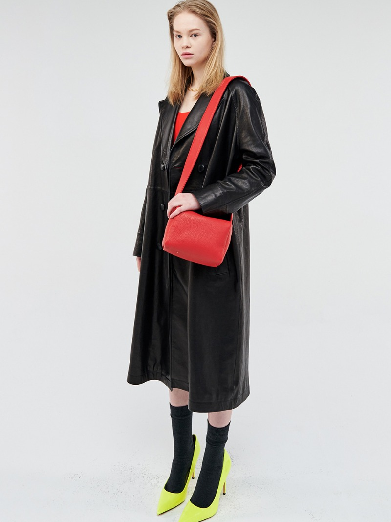 VEGETABLE LAMBSKIN LEATHER LONG COAT
