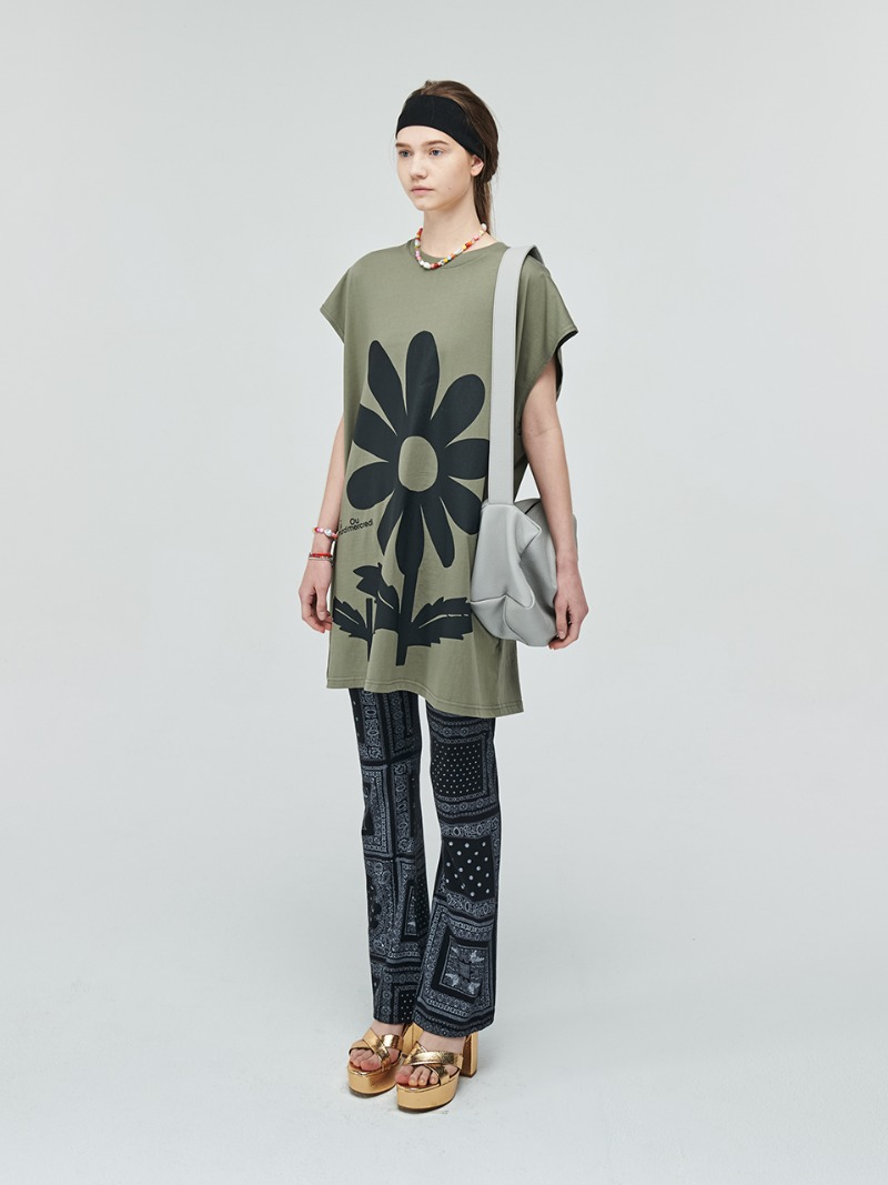 OVERSIZED SLEEVELESS BIG FLOWER KHAKI