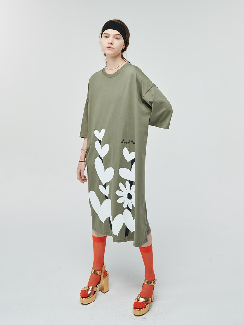 DRESS HEART TREE KHAKI