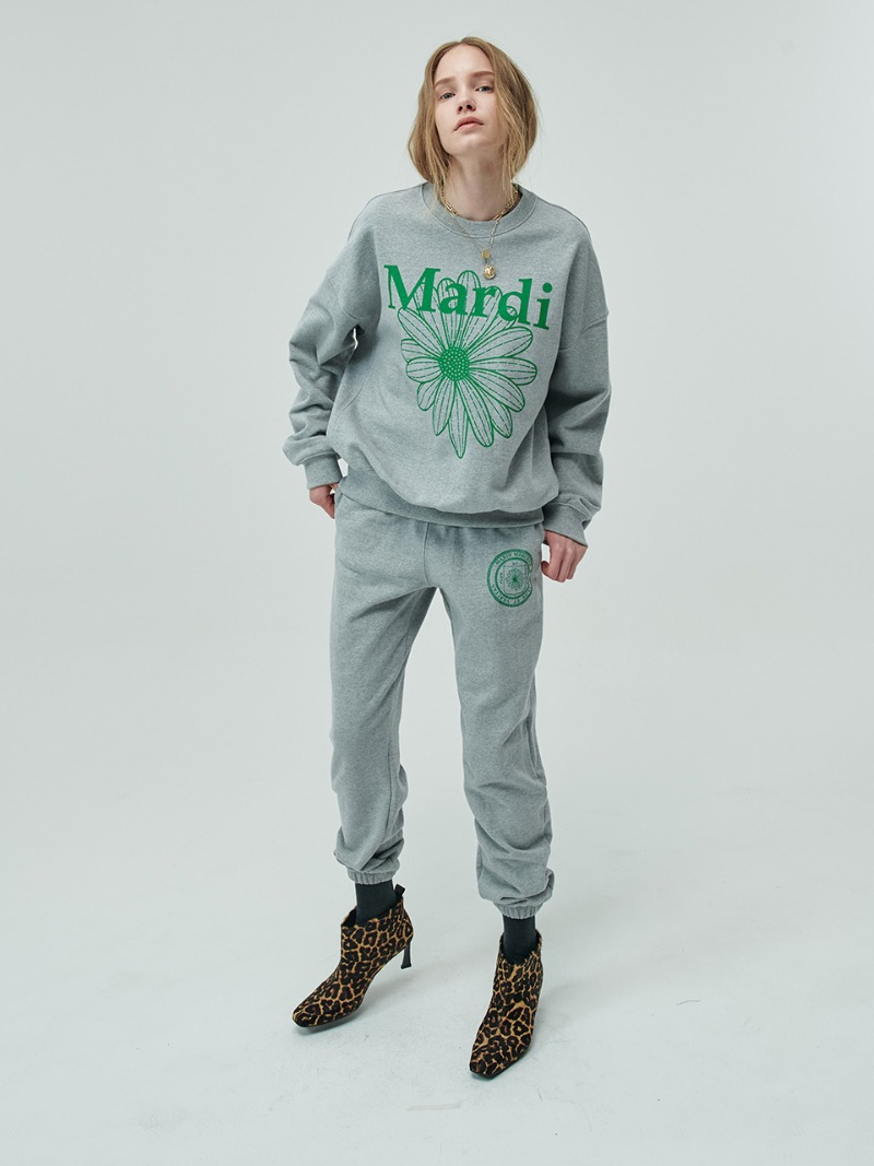 SWEATSHIRT THE FLOWER MARDI GREY-GREEN