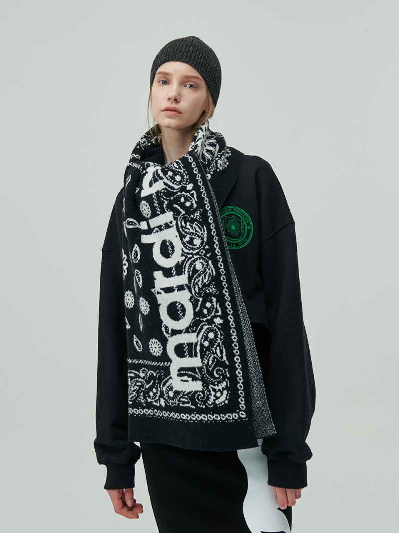 MUFFLER - OVERSIZED WOOL BLEND - BLACK