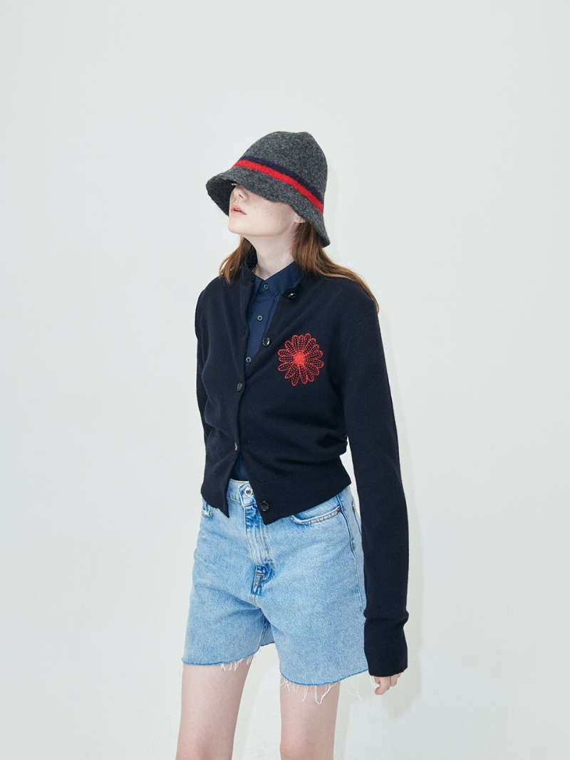 CARDIGAN - FLOWER MARDI - NAVY-RED
