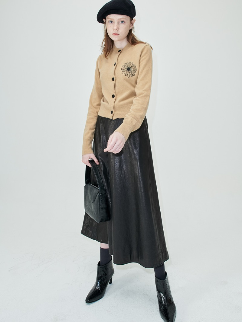 SLIT SKIRT - LAMBSKIN LEATHER - BLACK