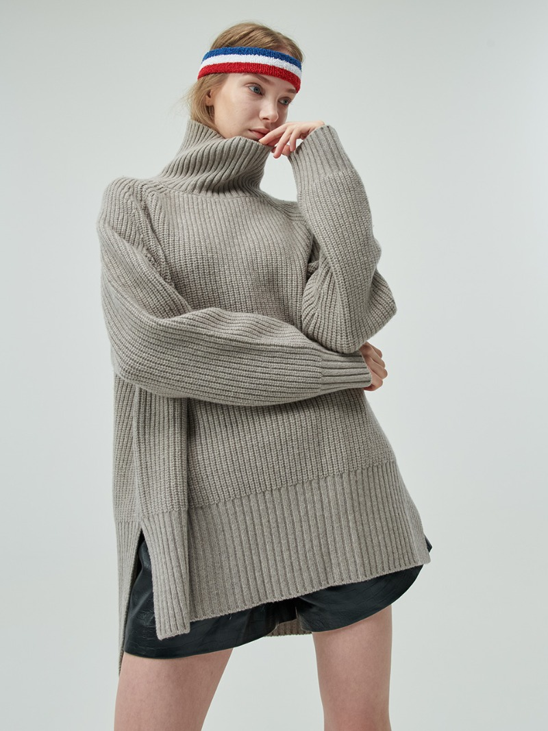 OVERSIZED KNIT - TURTLE - DARK BEIGE