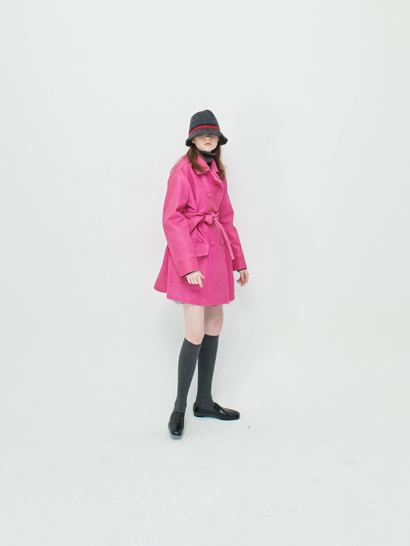 OVERSIZED COAT - VEGETABLE LAMBSKIN - PINK