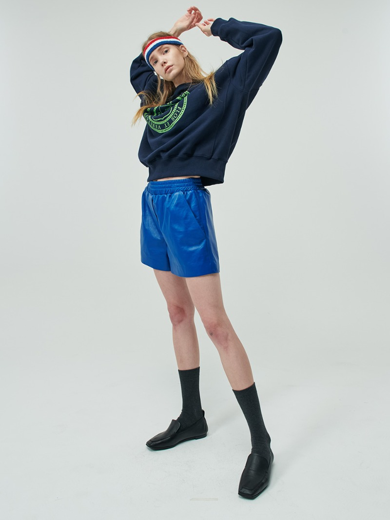 SHORTS - LAMBSKIN LEATHER - BLUE