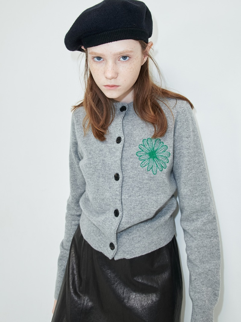 CARDIGAN - FLOWER MARDI - GREY-GREEN
