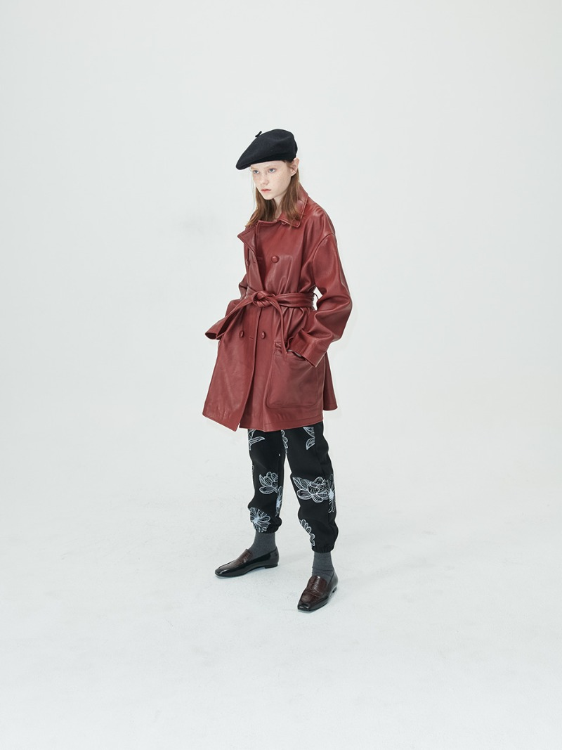 OVERSIZED COAT - VEGETABLE LAMBSKIN - BURGUNDY