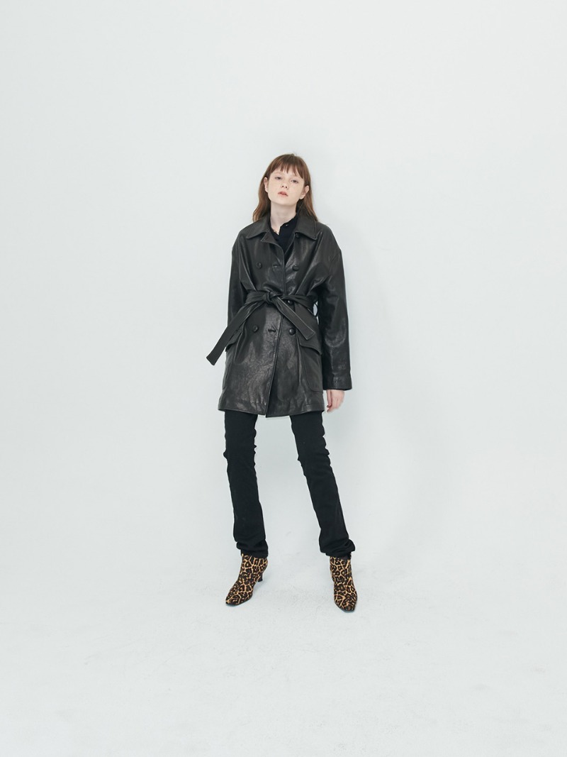 OVERSIZED COAT - VEGETABLE LAMBSKIN - BLACK