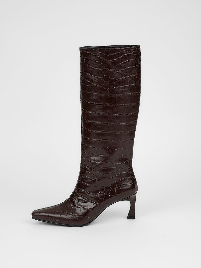 LONG BOOTS - CROC BROWN