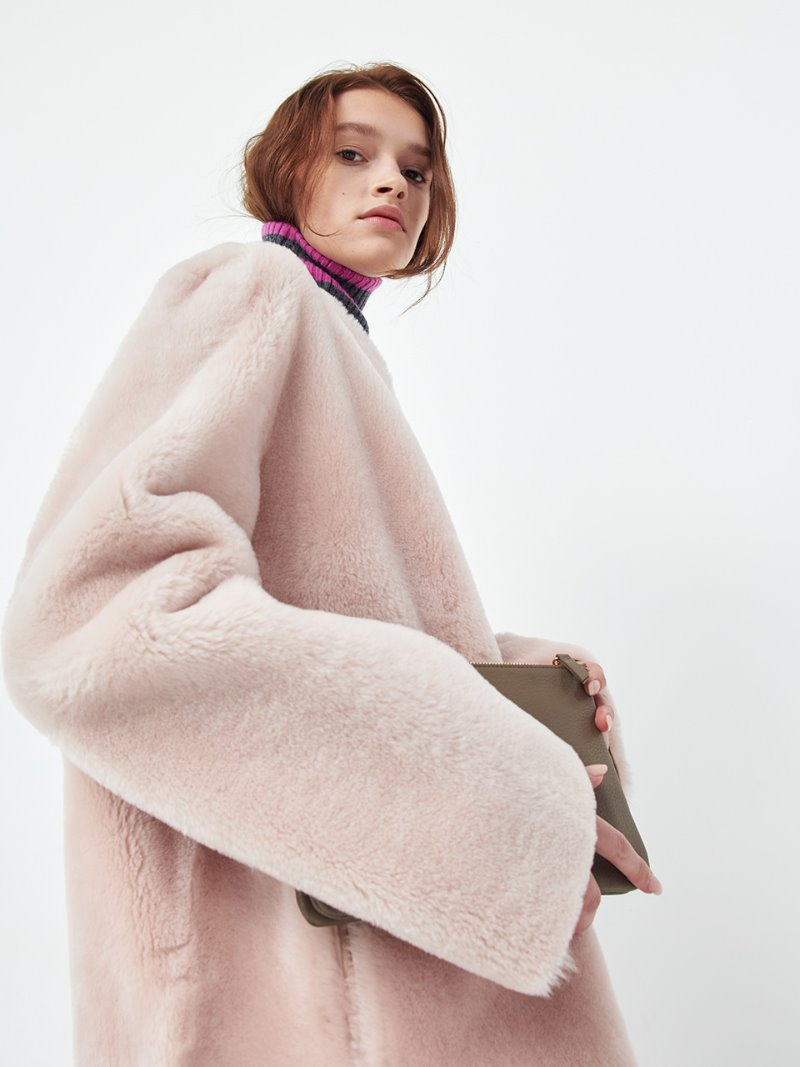 ROUND NECK SHEARLING - REVERSIBLE - BABY PINK