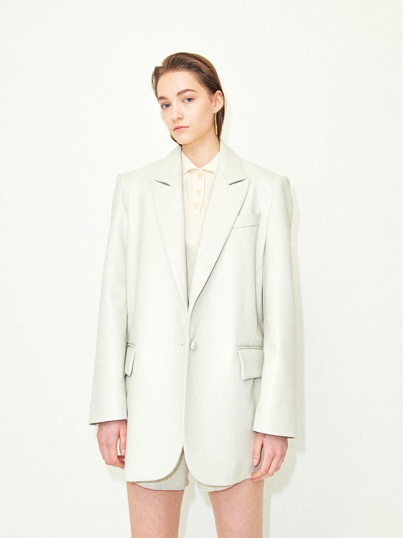 VEGETABLE LAMSKIN LEATHER OVERSIZED JACKET IVORY