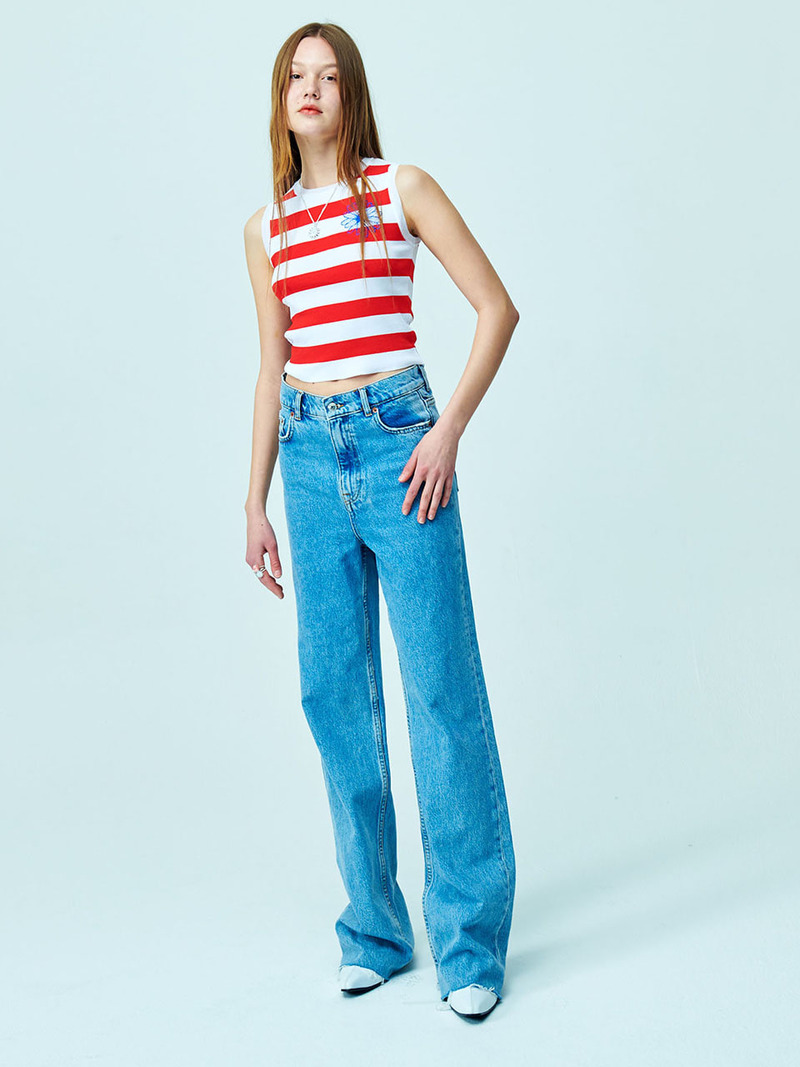 STRIPED SLEEVELESS KNIT - RED STRIPE